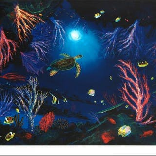 """Wyland """"Coral Reef Garden"""" Signed Limited Edition 27x20 Giclee on Canvas"""