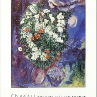 "Marc Chagall ""Bouquet with Flying Lover"" 20x30 Fine Art Poster"