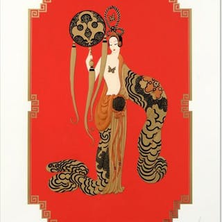 """Erte Signed """"Bamboo"""" Limited Edition 20x28 Serigraph"""