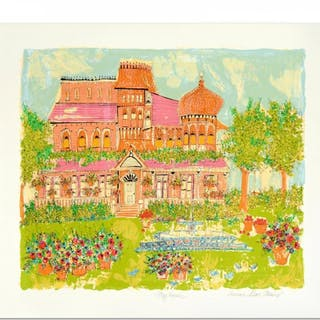 """Susan Pear Meisel Signed """"My House"""" Limited Edition 29x25 Serigraph"""