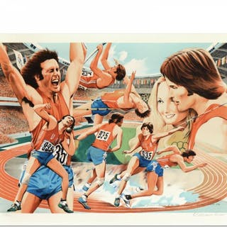 """William Nelson Signed """"Bruce Jenner"""" Limited Edition 22x29 Serigraph"""