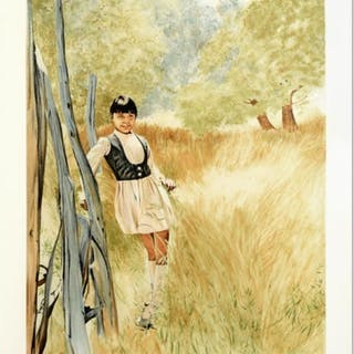 """William Nelson Signed """"Girl in Meadow"""" Limited Edition 22x28 Serigraph"""