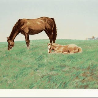 """William Nelson Signed """"Mare and Foal"""" Limited Edition 21x28 Serigraph"""