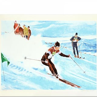 """William Nelson Signed """"Olympic Skier"""" Limited Edition 21x28 Serigraph"""