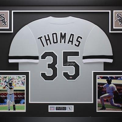 buy online 581fd 0fd27 Frank Thomas Signed Chicago White Sox 35x43 Custom Framed ...