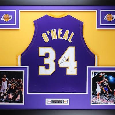 "Shaquille O'Neal Signed Lakers 35"" x 43"" Custom Framed Jersey (JSA COA)"