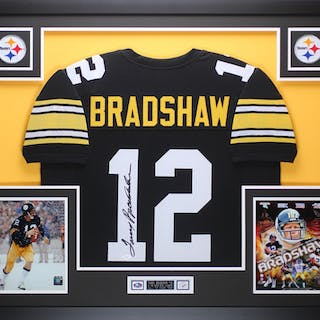 "Terry Bradshaw Signed Steelers 35"" x 43"" Custom Framed Jersey (JSA"