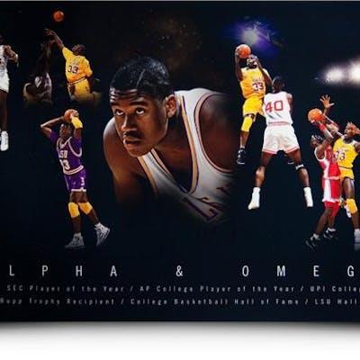 """Shaquille O'Neal Signed """"Alpha & Omega"""" LE 15x36 Photo (UDA COA)"""