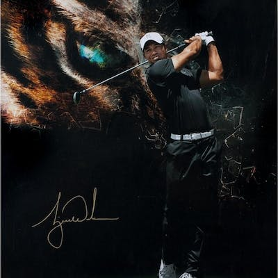 "Tiger Woods Signed ""Eye Of The Tiger"" Limited Edition 20x24 Photo (UDA COA)"