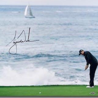 """Tiger Woods Signed """"Crashing Waves"""" 16x20 Photo (UDA COA)"""
