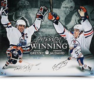 """Wayne Gretzky & Connor McDavid Signed Edmonton Oilers """"Passion For"""