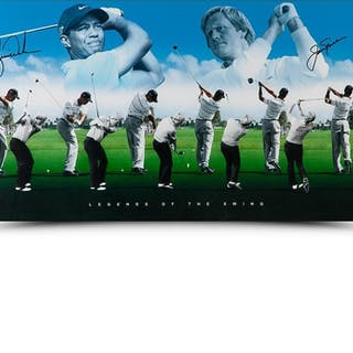 """Tiger Woods & Jack Nicklaus Signed """"Legends of the Swing"""" 18x36 Photo (UDA COA)"""