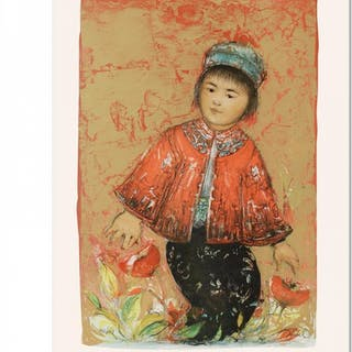 """Edna Hibel Signed """"New Red Jacket"""" Limited Edition 15x21 Lithograph"""