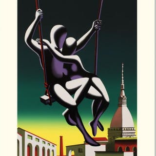 "Mark Kostabi Signed ""Above The World"" Limited Edition 27x35 Serigraph"
