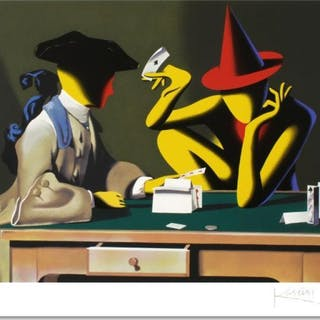 "Mark Kostabi Signed ""Chance Encounter"" Limited Edition 27x35 Serigraph"