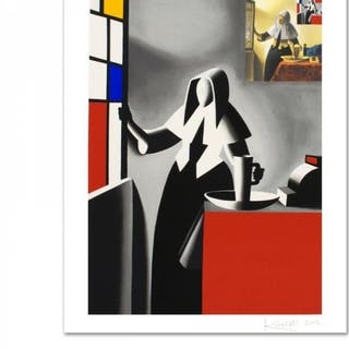 "Mark Kostabi Signed ""Progress Of Beauty"" Limited Edition 27x35 Serigraph"