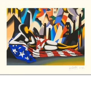 "Mark Kostabi Signed ""America"" Limited Edition 27x35 Serigraph"