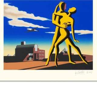 "Mark Kostabi Signed ""Yesterday's Here"" Limited Edition 27x35 Serigraph"