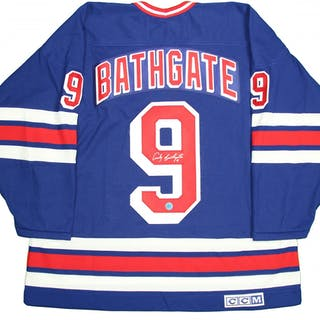 the latest d3668 fd1f1 Andy Bathgate Signed Rangers Throwback Jersey (AJ Sports ...