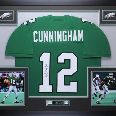 Randall Cunningham Signed 35x43 Custom Framed Jersey (JSA COA)