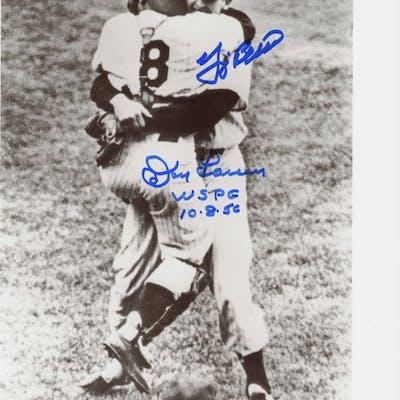 "Don Larsen & Yogi Berra Signed Yankees 8x10 Photo Inscribed ""WSPG"