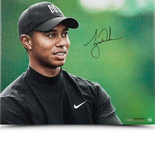"""Tiger Woods Signed """"Up Close & Personal"""" 20x24 Photo on Canvas (UDA COA)"""
