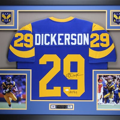 buy popular 07fa0 6a5cb Eric Dickerson Signed Los Angeles Rams 35x43 Custom Framed ...