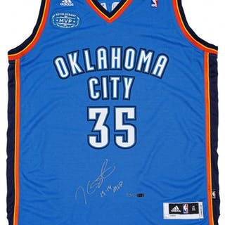 a9ca3c218 Kevin Durant Signed Thunder Jersey With 2013-14 MVP Patch Inscribed