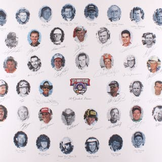NASCAR 50 Greatest Drivers 1948-1998 26x39 Lithograph Signed by (34)