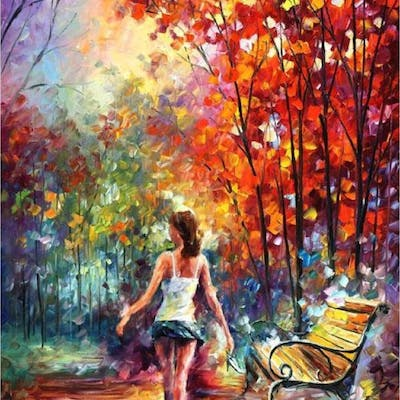 Leonid Afremov Signed Barefooted Stroll 40x54 Original Oil Painting On Canvas Barnebys