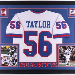 18b1e0dc240 ... Lawrence Taylor Signed Giants 35x43 Custom Framed Jersey Inscribed – Current  sales – Barnebys.com ...