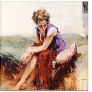 """Pino Signed """"Francesca"""" Artist Embellished Limited Edition 20x20 Giclee"""