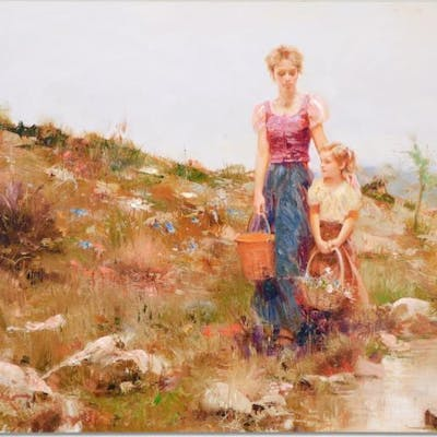 """Pino Signed """"Close to Home"""" Artist Embellished Limited Edition 48x36"""