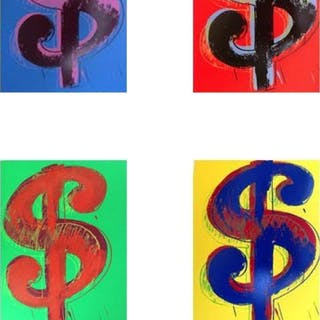 "Andy Warhol ""$ (Dollar signs)"" Limited Edition 15x19 Suite of (4)"