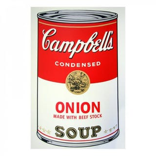 """Andy Warhol 23x23 """"Soup Can 11.47 (Onion with Beef Stock)"""" Silk Screen"""