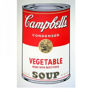 "Andy Warhol ""Soup can 11.48 (Vegetable w/ Beef Stock)"" 23x23 Silk"