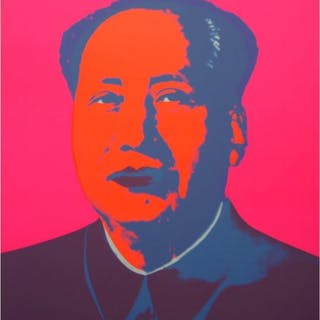 "Andy Warhol ""Mao Pink"" 33x29 Silk Screen Print from Sunday B Morning"