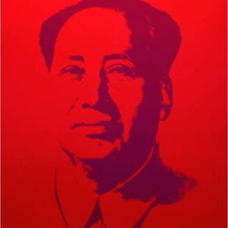 "Andy Warhol ""Mao Red"" 33x29 Silk Screen Print from Sunday B Morning"