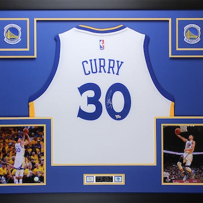 new products 5e88c e3bf0 Stephen Curry Signed 35x43 Custom Framed Jersey (Fanatics ...