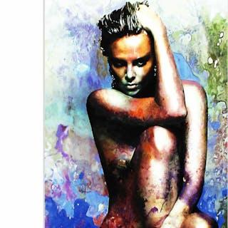 """Charlize Theron Blue Daze 2"" 22x32 Contemporary Celebrity Pop Art"