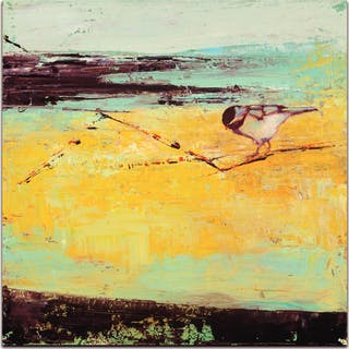 """""""Bird on a Horizon"""" 22x22 LE Contemporary Wall Art on Metal by Janice Sugg"""