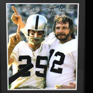 Ken Stabler & Fred Biletnikoff Signed Raiders 23x27 Custom Framed
