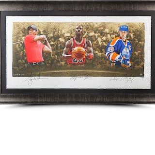 "Wayne Gretzky, Michael Jordan & Tiger Woods Signed ""Icons of Sport"""