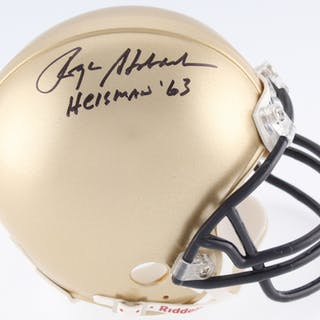 "Roger Staubach Signed Navy Midshipmen Mini-Helmet Inscribed ""Heisman"
