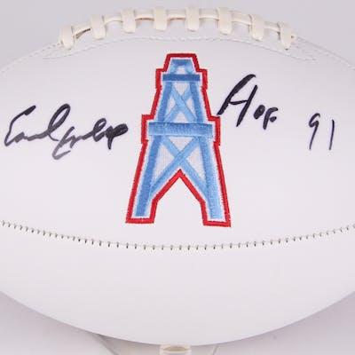 "Earl Campbell Signed Oilers Logo Football Inscribed ""HOF 91"" (JSA COA)"