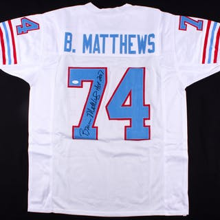hot sale online 319b5 1966f Bruce Matthews Signed Houston Oilers Jersey Inscribed