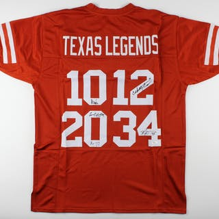 Jersey signed by (4) Colt McCoy, Vince Young, Ricky Williams, & Earl