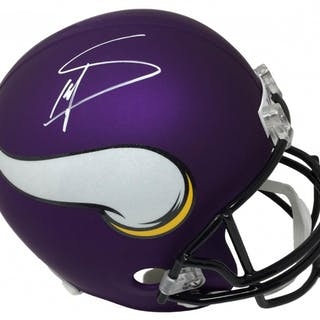Stefon Diggs Signed Vikings Matte Purple Full Size Helmet JSA COA Current Sales Barnebys