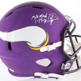 Stefon Diggs Signed Vikings Custom Matte Purple Full Size Speed