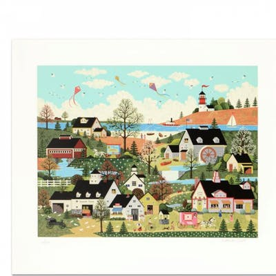 """Jane Wooster Scott Signed """"Sunday in New England"""" Limited Edition"""